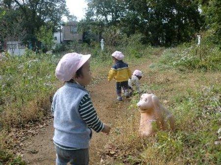 乳児さんも… 黄色いはっぱや 赤いはっぱ 見つけに行きます