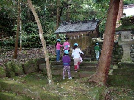 幼児さんは 近くの神社や 木の実の落ちていそうな場所へ…